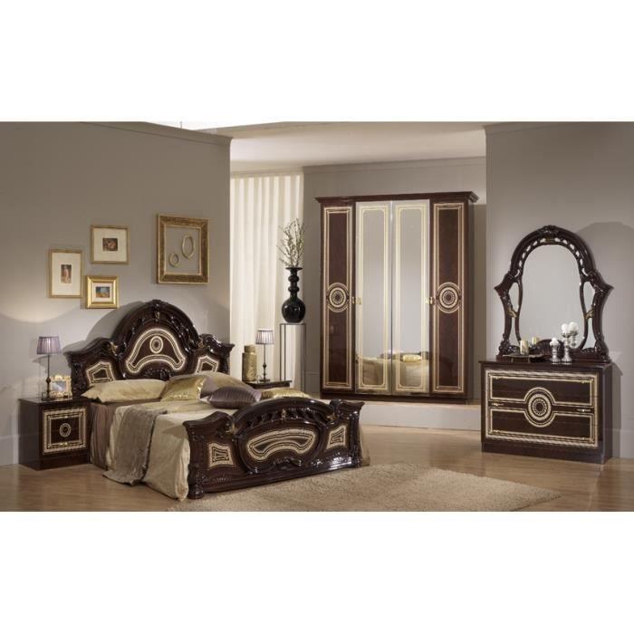 Chambre a coucher complete sara marron laqu achat vente chambre compl te - Chambre a coucher cdiscount ...