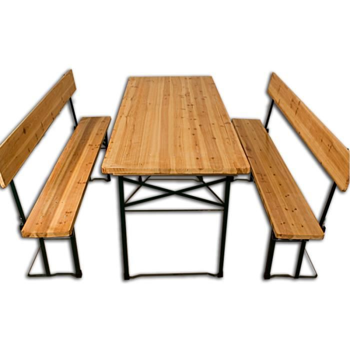salon de jardin table pliable 2x bancs dossier achat. Black Bedroom Furniture Sets. Home Design Ideas