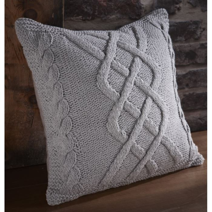COUSSIN Coussin tricot Highland 40x40 cm Mastic
