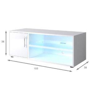 Meuble tv blanc achat vente pas cher cdiscount for Meuble tv blanc laque 100 cm