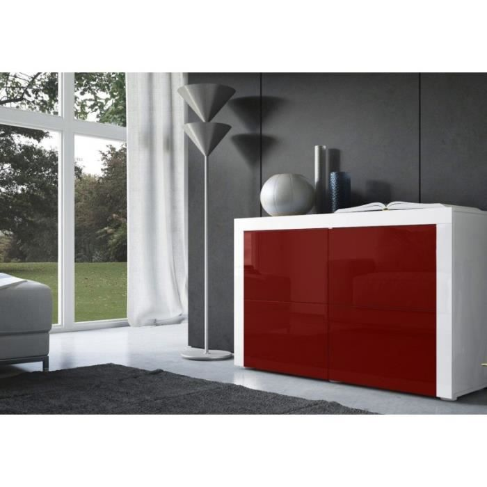 Commode design laqu e blanche et bordeaux achat vente for Commode chambre adulte design
