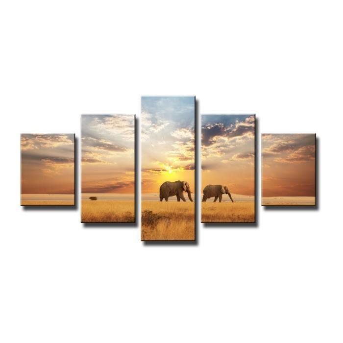 Tableau moderne imprim 160x80 cm elephants achat vente tableau toile - Tableau moderne discount ...