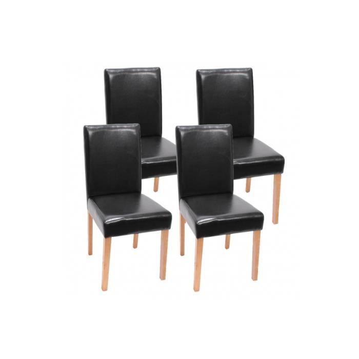 Lot de 4 chaises de salle a manger noir achat vente for Lot 4 chaises salle manger