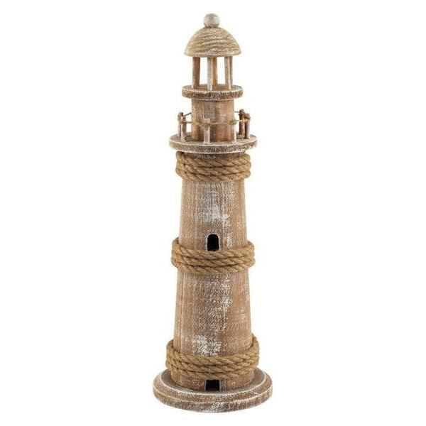 figurine decoratif phare bois 38 cm achat vente statue. Black Bedroom Furniture Sets. Home Design Ideas