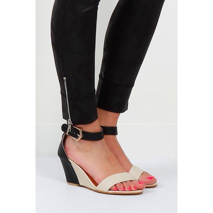 sandales bicolores talon compens beige beige beige achat vente sandale nu pieds cdiscount. Black Bedroom Furniture Sets. Home Design Ideas