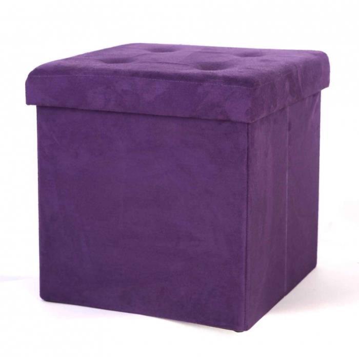 pouf de rangement pliable velours velours prune achat. Black Bedroom Furniture Sets. Home Design Ideas