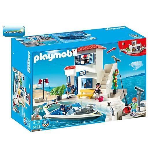playmobil 5128 police du port et bateau rapide achat vente univers miniature les soldes. Black Bedroom Furniture Sets. Home Design Ideas