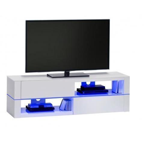 Meuble tv a led blanc laque avec plateau en verre 2 - Meuble tv blanc laque avec led ...