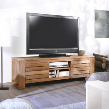 Meuble tv t l salon bois massif teck 135cm 2 p achat for Salon meuble bois