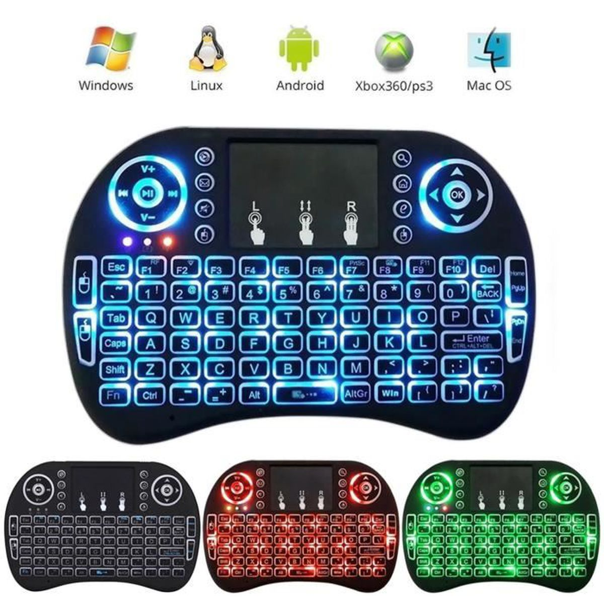 i8 mini clavier qwerty 2 4ghz sans fil wireless touchpad. Black Bedroom Furniture Sets. Home Design Ideas