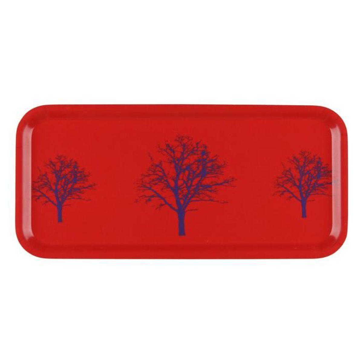 Plateau cocktail bois gris anthracite 32 x 15cm arbre hiver rouge ...
