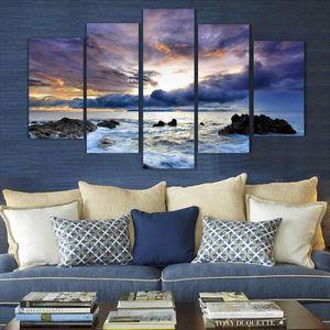 OBJET DÉCORATION MURALE 5 Pcs Mer Peinture toile Wall Art Canvas Pictures