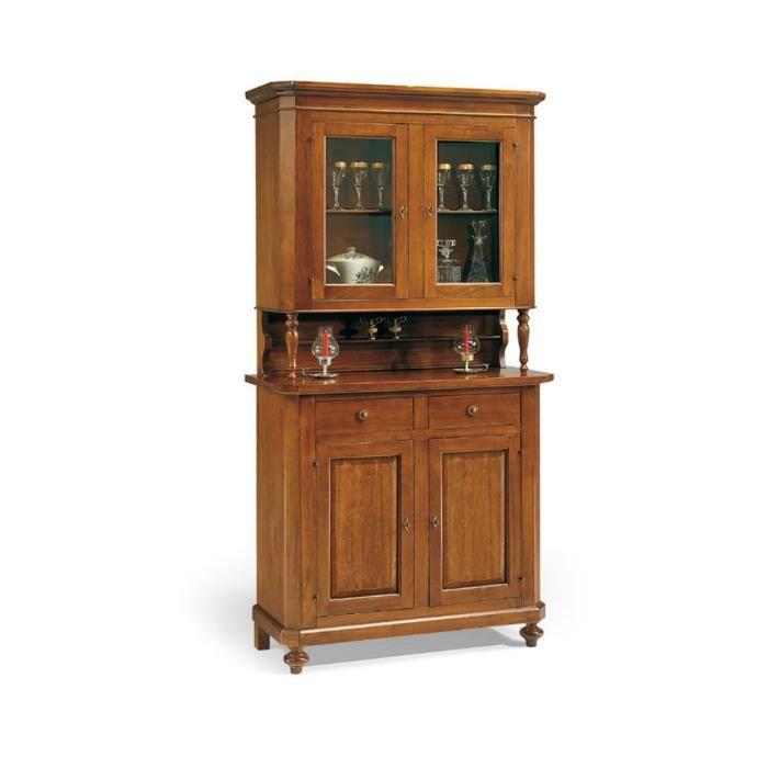 meuble vitrine style classique en bois massif et mdf avec finition noyer brillant dim 113 x. Black Bedroom Furniture Sets. Home Design Ideas