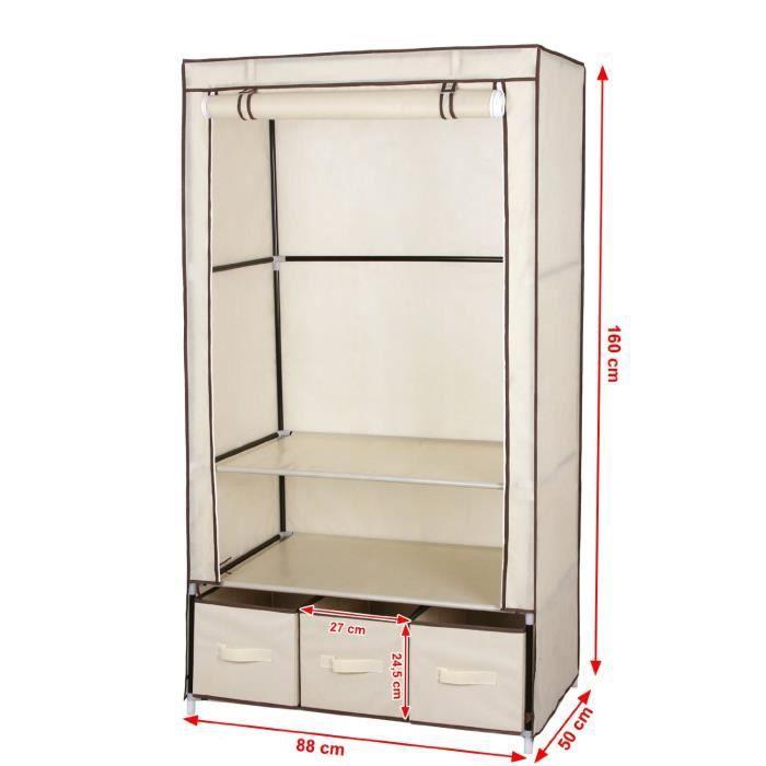 Armoire de rangement penderie beige 3 tiroirs 160 cm achat vente armoire - Cdiscount armoire de rangement ...