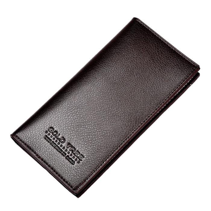 Homme mode pu portefeuille long porte ch quier porte carte bourse main marron marron achat - Portefeuille porte carte homme ...