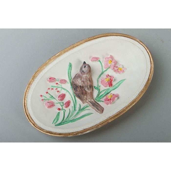 Bas relief decoratif ovale en platre oiseau achat for Objet deco en platre