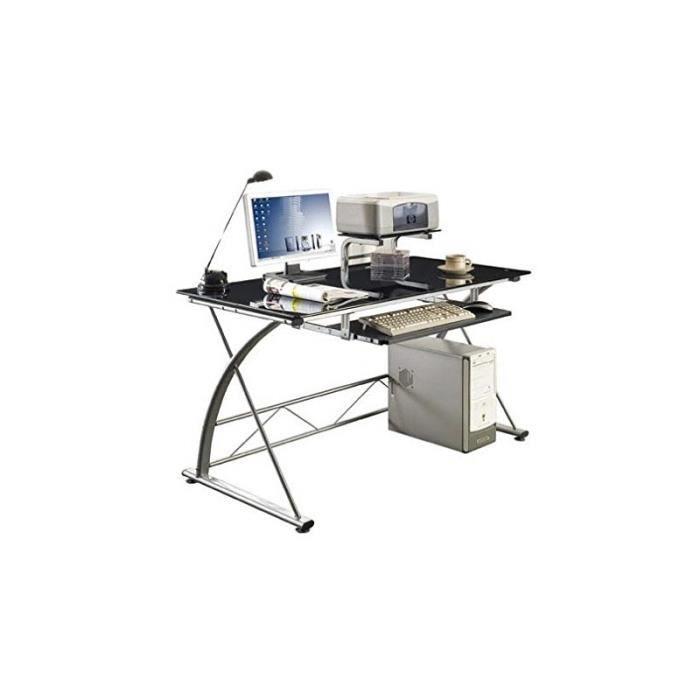 bureau avec plateau en verre noir achat vente bureau. Black Bedroom Furniture Sets. Home Design Ideas