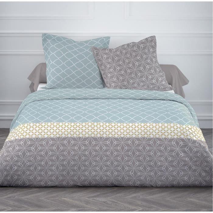 today parure de couette 100 coton 1 housse de couette dota 220x240 cm 2 taies d 39 oreillers. Black Bedroom Furniture Sets. Home Design Ideas
