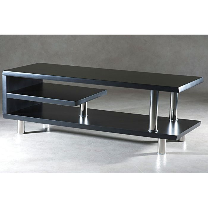 meuble tv design en bois mdf noir mat vilio achat vente meuble tv meuble tv design cdiscount. Black Bedroom Furniture Sets. Home Design Ideas