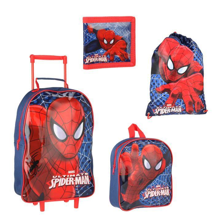 spiderman sac trolley sac dos enfant gar on bleu et rouge achat vente sac dos. Black Bedroom Furniture Sets. Home Design Ideas