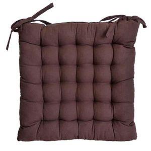 COUSSIN DE CHAISE  Galette de chaise 25 points 40x40x4cm Chocolat