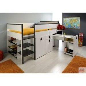 lit combin enfant blanc gris megeve achat vente lit combine lit combin enfant blanc gris. Black Bedroom Furniture Sets. Home Design Ideas