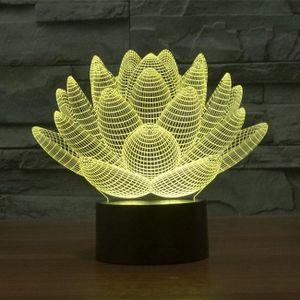 LAMPE A POSER 3D LED de lotus changement de 7 couleurs