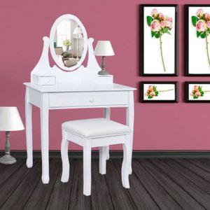 COIFFEUSE Coiffeuse table de maquillage en bois avec miroir