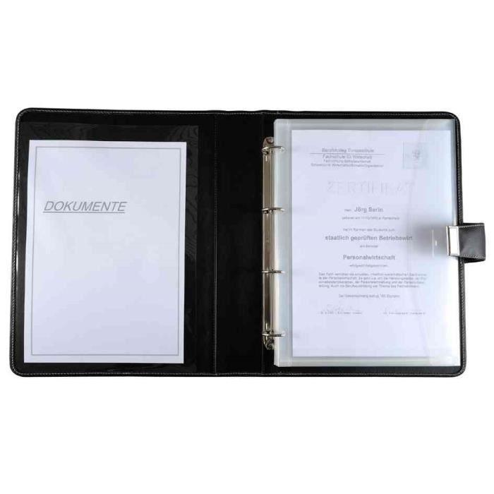 porte document format a4 4 anneaux cuir nappa noir noir transparent achat vente