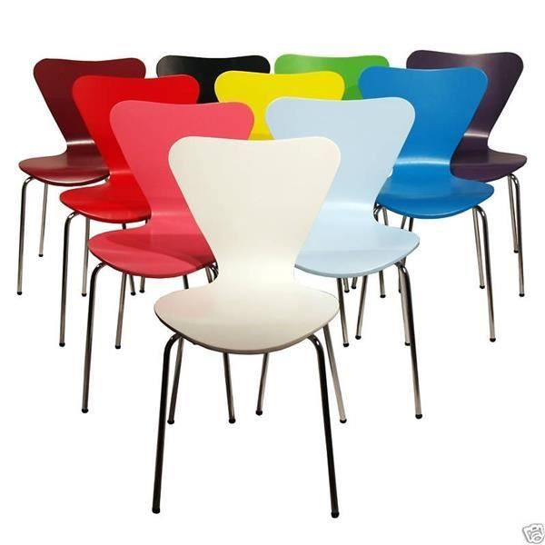 chaise empilable arne jacobsen series 7 h tre noir bleu rouge vert rose blanc achat. Black Bedroom Furniture Sets. Home Design Ideas