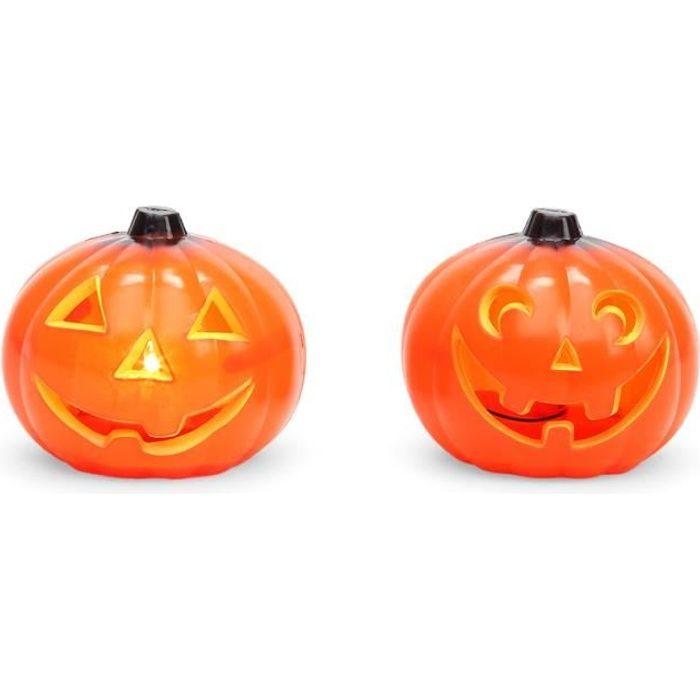 Petite citrouille d 39 halloween souriante lumineuse 11 cm taille unique achat vente d cors - Model citrouille d halloween ...