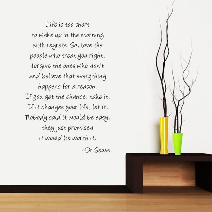 life is short po me stickers muraux de citations et proverbes salle de s jour chambre. Black Bedroom Furniture Sets. Home Design Ideas