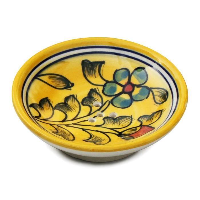 porte savon 9 1 cm couleur jaune fait la main c ramique cuisine et salle de bain. Black Bedroom Furniture Sets. Home Design Ideas