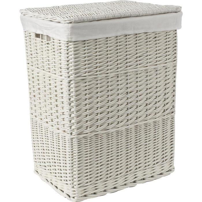panier linge en osier laqu blanc 46 x 34 x 60cm achat vente panier a linge panier linge. Black Bedroom Furniture Sets. Home Design Ideas
