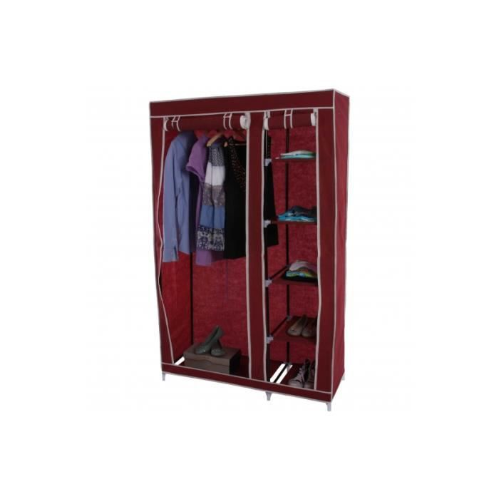 Placard pliant armoire camping penderie 173x110x45cm rouge achat vente ar - Armoire penderie cdiscount ...