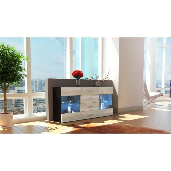 buffet noir et bois brut vitrines 139 cm achat vente. Black Bedroom Furniture Sets. Home Design Ideas