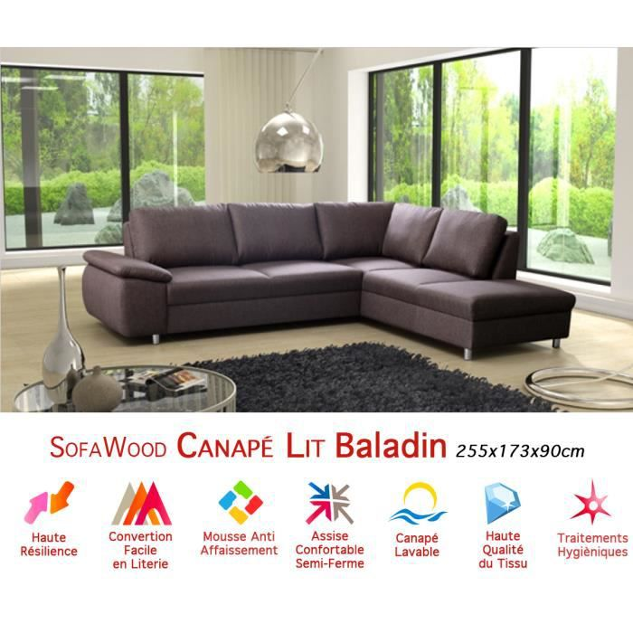 Canap d 39 angle convertible sofawood baladin 255x173x90cm - Canape angle convertible pas cher neuf ...