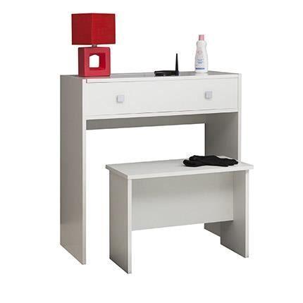 coiffeuse 1 abattant 1 miroir blanc achat vente coiffeuse coiffeuse 1 abattant 1 miro. Black Bedroom Furniture Sets. Home Design Ideas