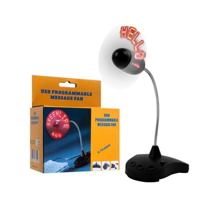 electromenager chauffage climatisation ventilateur usb programmable message led noir f  auc