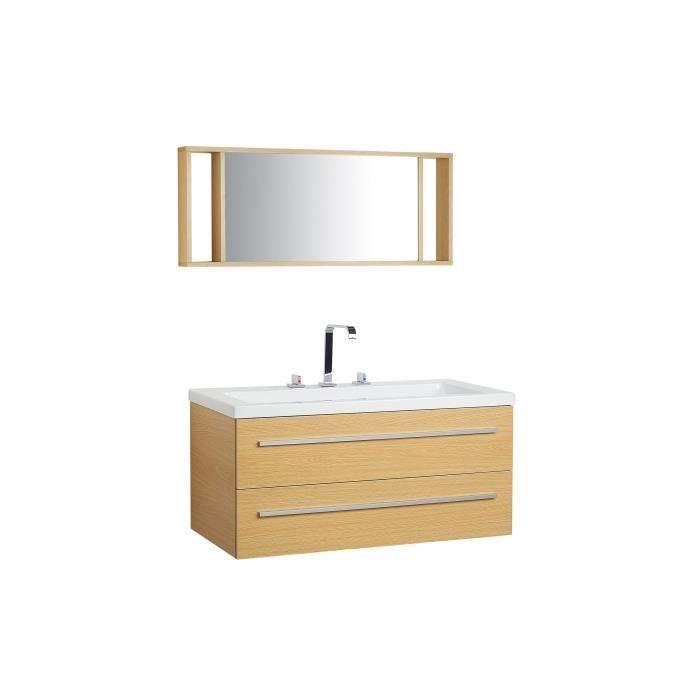meuble vasque tiroirs miroir inclus beige barcelona achat vente meuble vasque plan. Black Bedroom Furniture Sets. Home Design Ideas