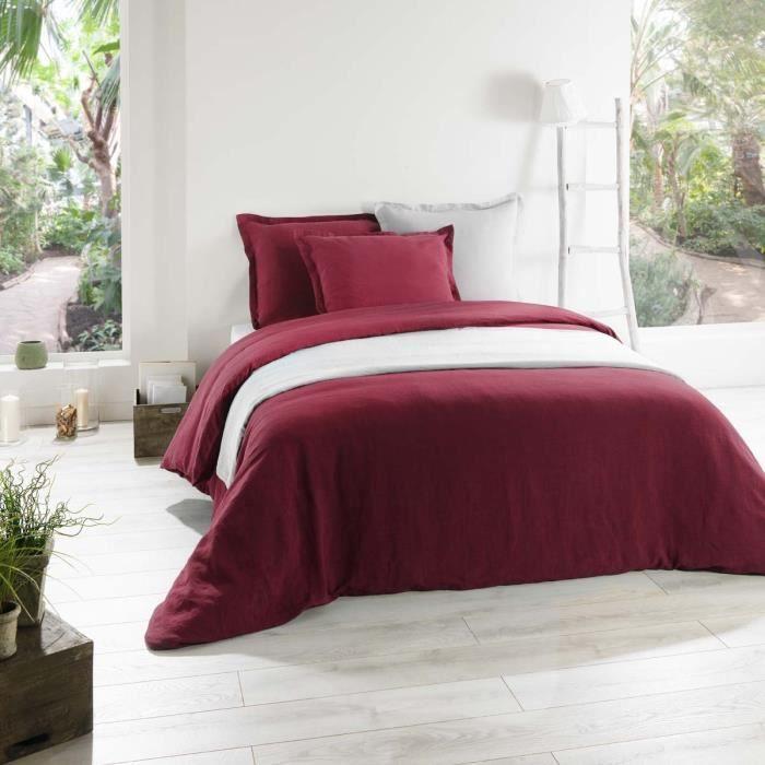 housse de couette lin bordeaux 200x200 cm achat vente housse de couette cdiscount. Black Bedroom Furniture Sets. Home Design Ideas