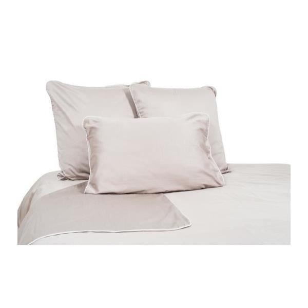 housse de couette satin de coton craie taupe achat. Black Bedroom Furniture Sets. Home Design Ideas