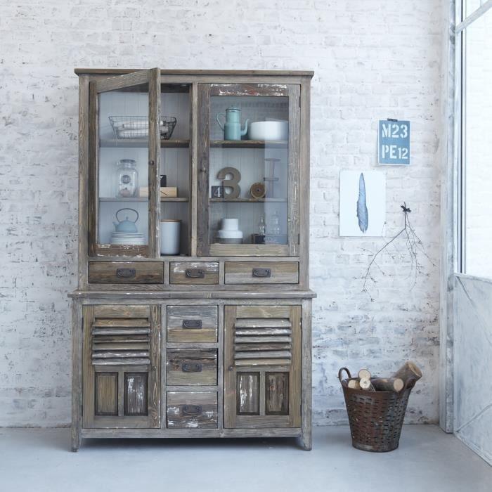 vaisselier en pin recycl vitrine largeur 140 cm 4 portes 6 tiroirs vintage achat. Black Bedroom Furniture Sets. Home Design Ideas