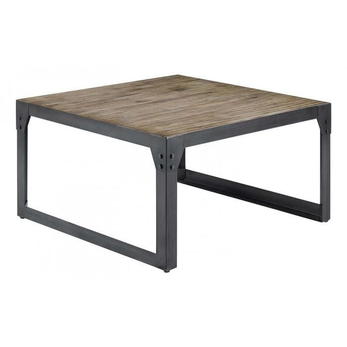 Table basse carr e acacia m tal 85 cm factory i achat for Table basse 85 cm