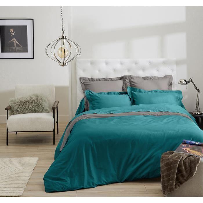 Housse de couette bicolore gris fonc et bleu p trole for Housse de couette 200x200 bleu