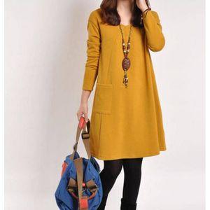 tunique pure color l che robe manches longues femme jaune - Tunique Colore Femme