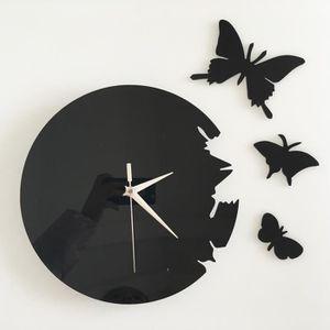 HORLOGE Tofern Horloge Murale Pendule 3D Papillon Silencie