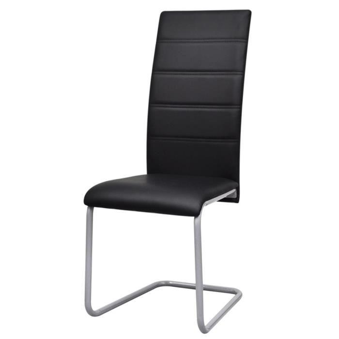 chaises de cuisine et de salle a manger 2 chaises cantilever a haut dossier noir achat vente. Black Bedroom Furniture Sets. Home Design Ideas