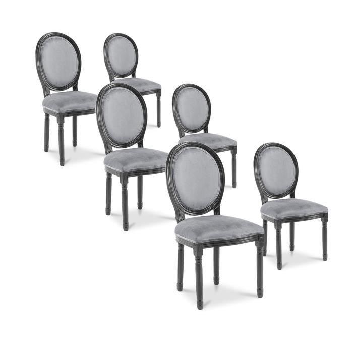 Lot de 6 chaises m daillon louis xvi velours gris achat for Maison du monde chaise louis xvi