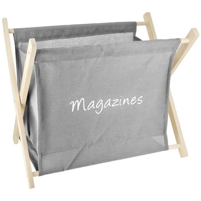 porte revues rangement magazine design vintage bois et lin gris taupe achat vente porte. Black Bedroom Furniture Sets. Home Design Ideas